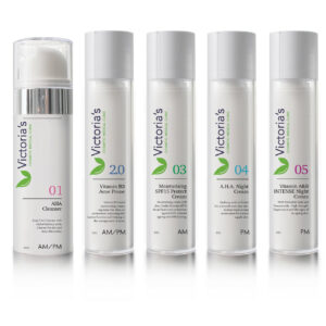 Victoria's 5 Step Skincare Range - The daily skin regime helps to cleanse the skin and clear existing outbreaks while eliminating bacteria that cause further acne.