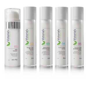 Victoria's 5 Step Skincare anti-ageing program featuring AHA Cleanser, Vitamin C&E Morning Serum, Moisturising SPF15 Protect Cream, AHA Night Cream and Vitamin A&B Night Cream