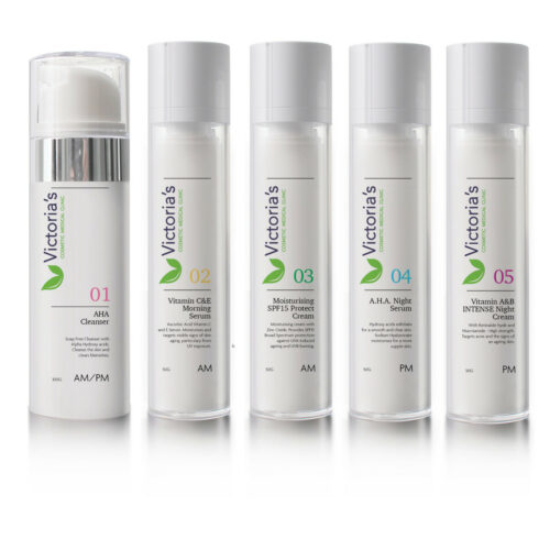 Victoria's 5 Step Skincare anti-ageing program featuring AHA Cleanser, Vitamin C&E Morning Serum, Moisturising SPF15 Protect Cream, AHA Night Cream and Vitamin A&B Night Cream